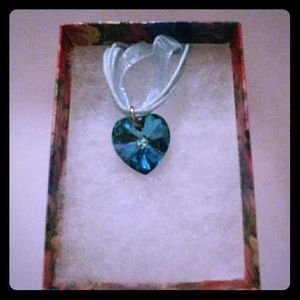 Jewelry - Caribbean Blue Crystal Heart Necklace